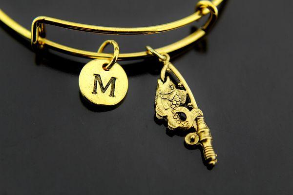 Gold Fish Fishhook Charm Bracelet