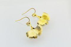 Gold Gingko Charm Dangle Earrings