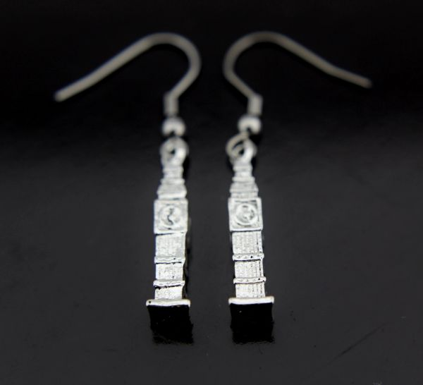 Silver Eiffel Tower Charm Dangle Earrings