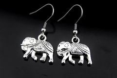 Silver Elephant Charm Dangle Earrings