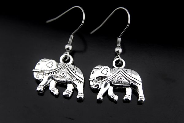 Silver Elephant Charm Dangle Earrings