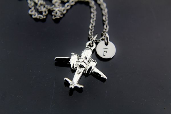 Fighter Airplane Necklace, Silver Fighter Airplane Charm Necklaces