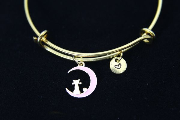 Cat Charm Bracelet, Gold Pink Cat Sit on the Crescent Moon Charm, B105