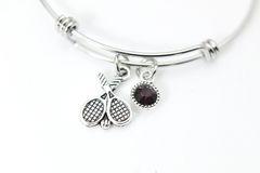 Silver Tennis Charm Bracelet, Personalized Bracelet