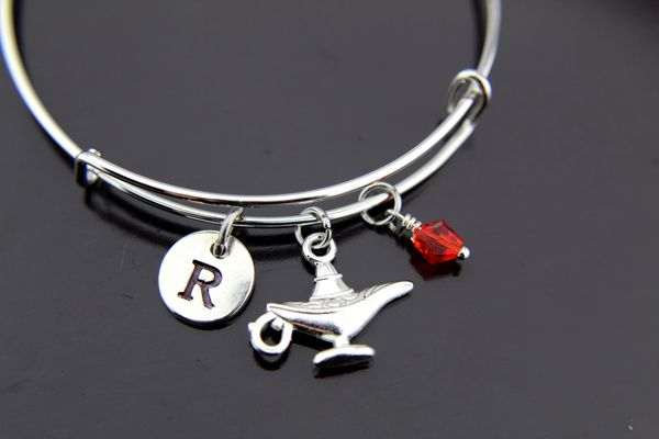 Magic Lamp Bangle, Silver Magic Lamp Charm Bracelet, Expandable Bangle