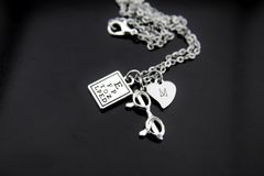 Silver Reading Eye Chart Eyeglasses Necklace