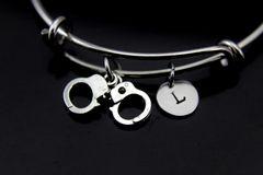 Handcuffs Bracelet, Handcuffs Bangle, Handcuffs Charm, Handgun Charm, Piston Charm, Police Wife Gift, Personalized Gift, Best Friend Gift