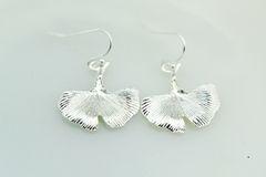 Silver Gingko Charm Dangle Earrings