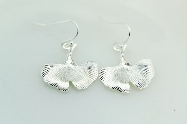 Silver Gingko Charm Dangle Earrings