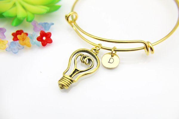 Gold Light Bulb Charm Bracelet Bangle,Personalized Bracelet, Expandable Bangle, Initial Bracelet, Monogram