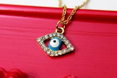Gold Evil Eye Necklace, Dainty Delicate Necklace
