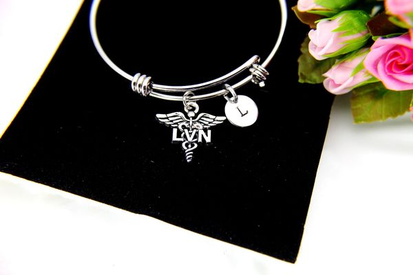 Licensed Vocational Nurse Bracelet, LVN Nursing Charm Bangle, LVN Caduceus Charm, B099