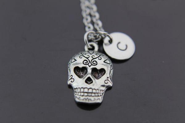 Silver Sugar Skull Charm Necklace