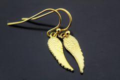 Gold Guardian Angel Wing Charm Dangle Earrings
