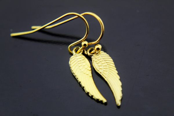 Gold Guardian Angel Wing Charm Dangle Earrings