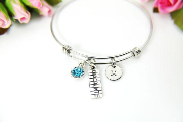 Silver Chocolate Bar Charm Bracelet, Personalized Bracelet