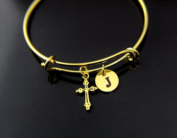 Gold Cross Charm Bracelet Personalized Bracelet