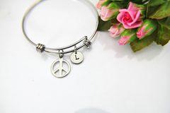 Silver Peace Charm Bracelet, B130