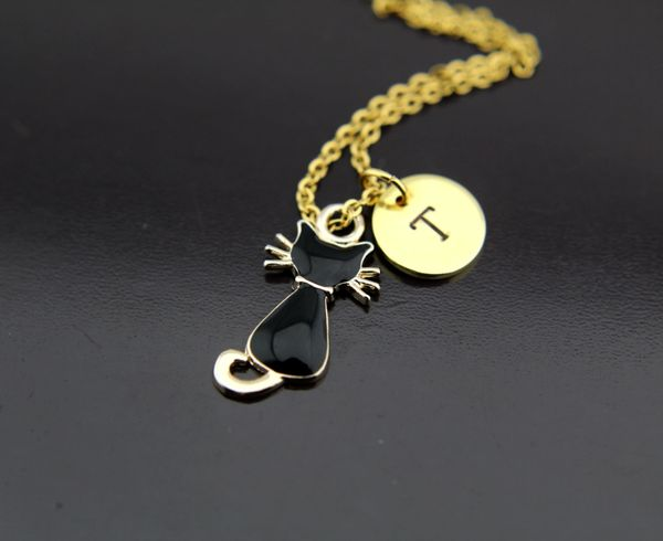 Gold Black Cat Charm Necklace
