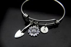 Gardening Gift, Sunflower Bracelet, Garden Shovel Charm, Flower Charm, Sunflower Charm, Gardener Jewelry, Gardening Charm, Personalized Gift