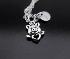 Silver Pig Charm Necklace