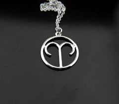 Silver Aries Sign Charm Necklace