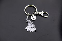 Silver Peacock Charm Keychain Personalized Keychain