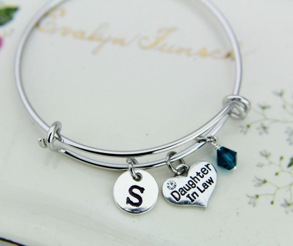 Daughter in Law Charm Bracelet Personalized Bangle
