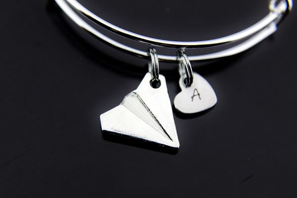 Silver Paper Airplane Charm Bracelet