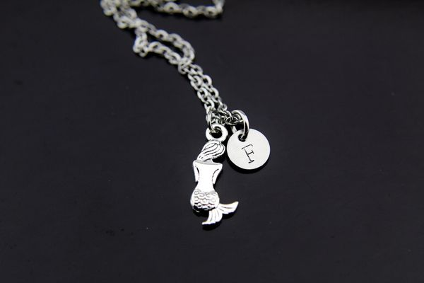 Mermaid Necklace, Silver Mermaid Charm Necklace, Personalized Necklace