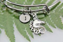 Silver Unicorn Charm Bracelet, Personalized Bracelet, Expandable Bangle, Initial Bracelet, Monogram