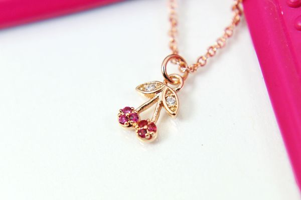 Rose Gold Cherry Necklace, Dainty Necklace, Personalized Gift