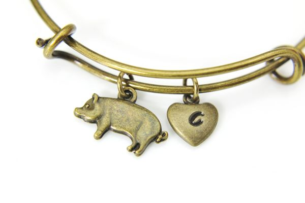 Bronze Pig Charm Bracelet, Personalized Initial Bracelet
