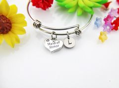 Maid of Honor Charm Bracelet Bangle,Personalized Bracelet, Expandable Bangle, Initial Bracelet, Monogram