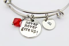 Silver Never Give Up Charm Bracelet, Personalized Bracelet, Expandable Bangle, Initial Bracelet, Monogram