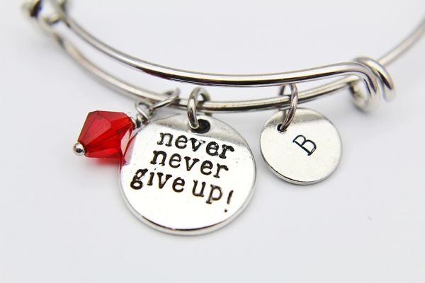 Silver Never Give Up Charm Bracelet, Personalized Bracelet, Expandable Bangle, Initial Bracelet, Monogram