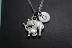 Silver Mother Elephant and Cife Charm Necklace