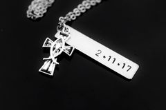 Silver Cross Fishbone Charm Necklace