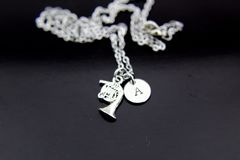 Silver Trumpet Charm Necklace
