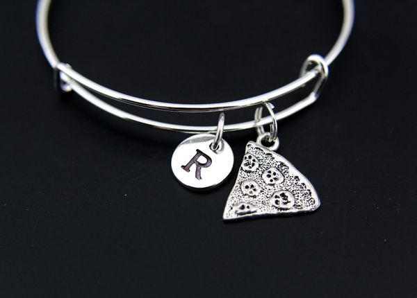 Pizza Bangle, Pizza Charm Bracelet, Pizza Charms,Expandable Bangle