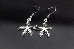 Silver Starfish Charm Dangle Earrings