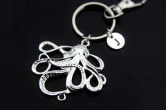 Silver Octopus Charm Keychain Personalized Keychain