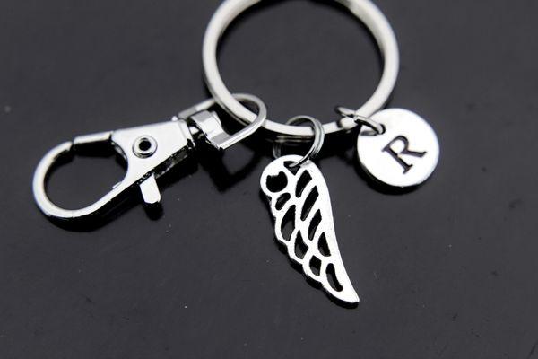 Silver Guardian Angel Wing Charm Keychain Personalized Keychain
