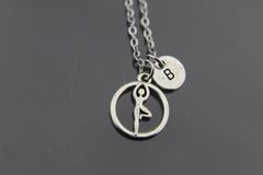 Youga Necklace, Silver Tree Pose Yoga Charm Necklaces, Personalized Necklace