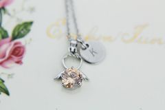 Guardian Angel Necklace Personalized Initial Necklace