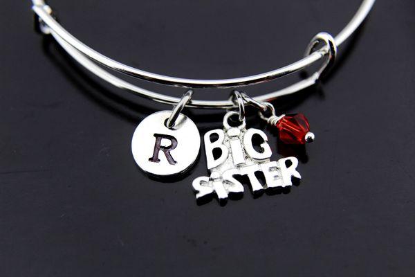 Big Sister Bangle, Silver Big Sister Charm Bracelet, Expandable Bangle