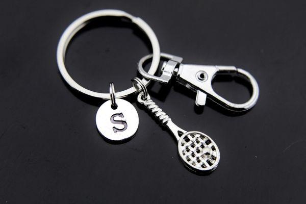 Silver Tennis Racket Charm Keychain Personalized Keychain