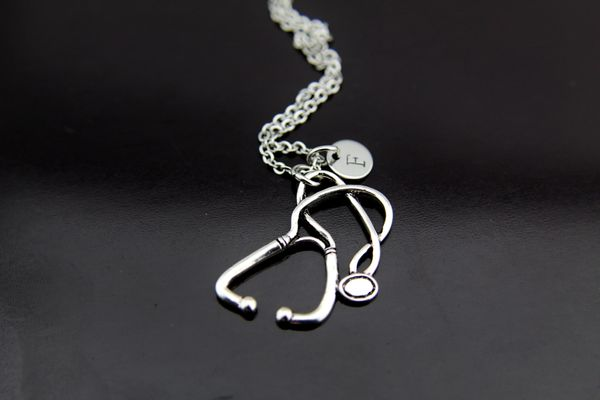 Silver Stethoscope Charm Necklace