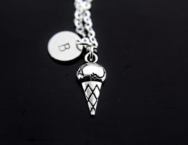 Silver Ice Cream Charm Necklace
