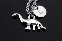 Silver Dinosaur Charm Necklace